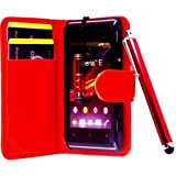 R.BAWA. Pack Containing 5 Parts. Red Leather Wallet Case FOR SONY XPERIA E + 2 Screen Protectors + 2 Stylus Pens