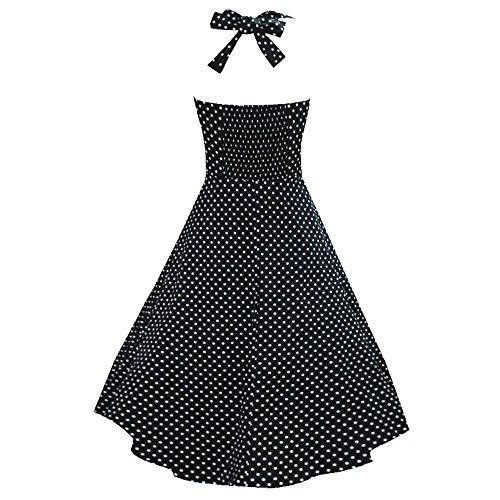 LUOUSE Robe de Bal/Soirée Licou Vintage année 40 50 60 avec des Points Polka V303-Noir