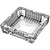 King International Crystal Quality Glass Ash Tray | Square Tabletop | Glass Ashtray | Smoke Collectible Tribal Decoration- 9.5 Cm (Medium), 320 G - B075F97PD4