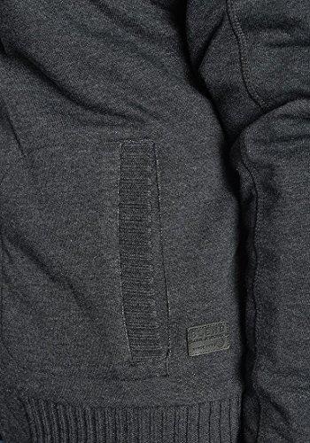 BLEND Moreno Herren Sweatjacke Zip-Jacke mit Teddyfutter und Kapuze aus hochwertiger Baumwollmischung Charcoal (70818)
