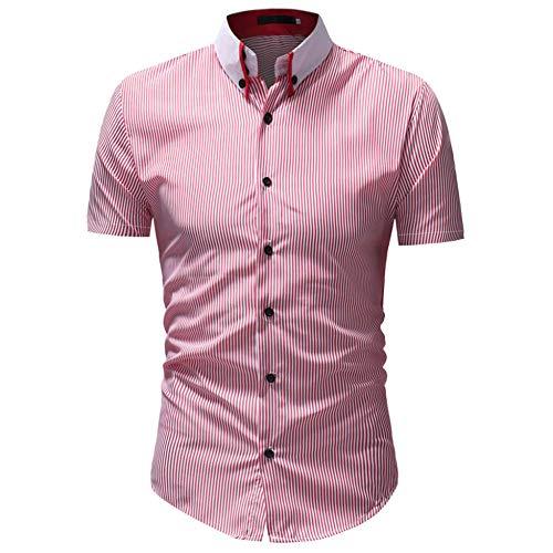 Cool-plus-gestreiften Polo (CHENS Langarm/Slim fit/Strand/XL Gestreiftes Hemd Sommerhemd Herren Plus Size Lässig Button Down Kurzarm Hemd Top Bluse Rot Bekleidung)