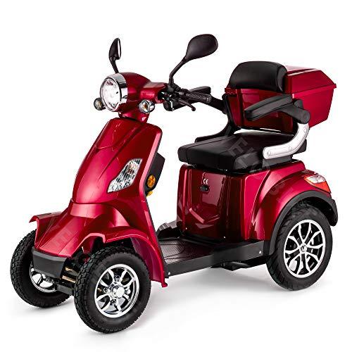 VELECO Scooter Elettrico 4 Ruote Disabili, Anziani 25km/h 1000W FASTER (Rosso)
