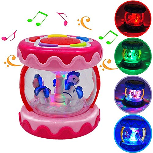 WISHTIME Baby Drum Instrument Music Toys Carousel Music Drum Activity Toy & Night Lamp Sky Early Educational Toys for Infants and Toddlers Aged 6 Months to 3 Years Old (PINK)