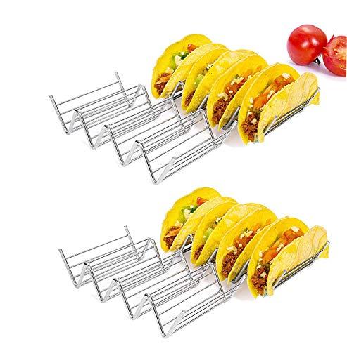 Taco Halter Ständer, hapway 4Stück Edelstahl Taco Truck Tablett Stil, Mexican Food Taco Rack Muscheln, sicher für Backen, Grill und spülmaschinenfest