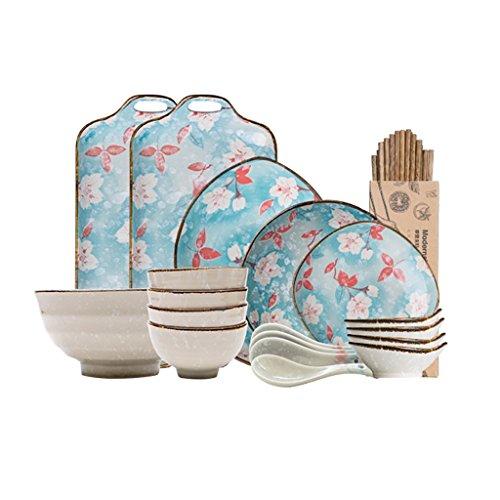 Xxlpz piatto da dessert, ceramica giapponese magnolia stoviglie piatto piatto piatto di famiglia piatti piatti 2/4/6 persone set di cibo (dimensioni : 4 people meal)