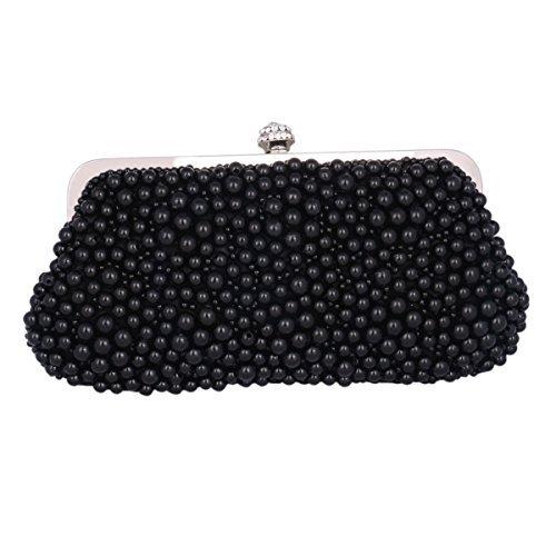 Adoptfade Abendtasche Damen Perlen Clutch Tasche, Schwarz