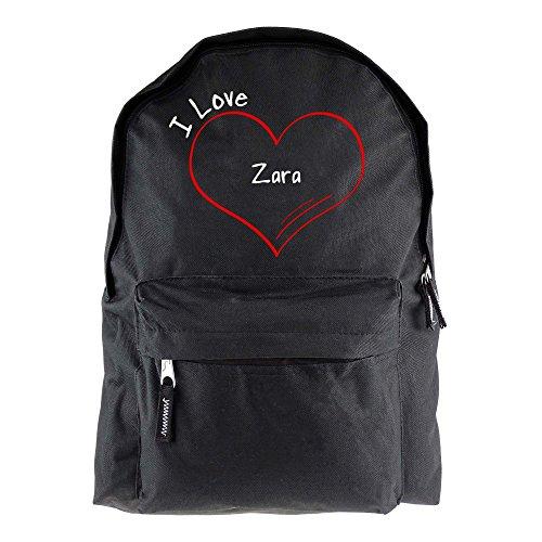 Rucksack Modern I Love Zara schwarz - Lustig Witzig Sprüche Party Tasche