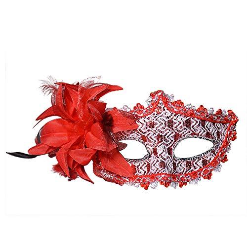 EBILUN Gesicht Augenmaske mit Feder Blume für Maskerade Halloween Kostüm rot (Kostüm Gesicht Blume)