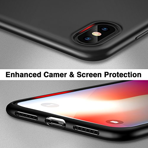 Coque iPhone X Noir, ESR iPhone 10 Coque Silicone Matte Ultra Fine, Housse Etui de Protection Bumper en TPU Souple Finition Mat [Anti Rayures] [Anti Dérapant] [Ultra Slim] [Ultra Léger] pour Apple iPh Noir