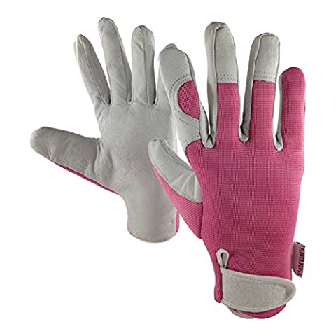 Ladies Leather Gardening Gloves (Pink) - Slim Fit Work Gloves for Women (Small & Medium) - Perfect for Garden and Household Tasks - Best Gardening Gift for Women. Buy on Sale NOW! (Medium)
