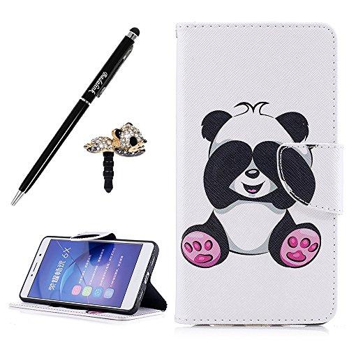 Preisvergleich Produktbild Badalink Huawei Honor 6X Hülle UltraSlim Schutzhülle Gemalt Leder PU Handyhülle Handytasche Wallet Case Ständer Handyhuelle Cover mit Eingabestifte und Staubschutz Stecker Panda