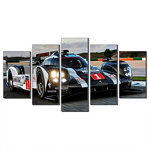 5 Pannelli 2016 Porsche 919 Hybrid Motion Pittura A Olio Della Tela Arte Della Parete Veicolo Ibrido Auto Sportive Immagine Stampe Su Tela Per La Decorazione Domestica (Con cornice,50_x_100_cm)