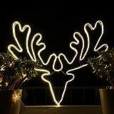 Weihnachtsdeko Fenster LED Rentier Fensterbilder Weihnachten Beleuchtet Fensterdeko Hängend Fensterdekoration mit Licht Fensterbeleuchtung (WW1)