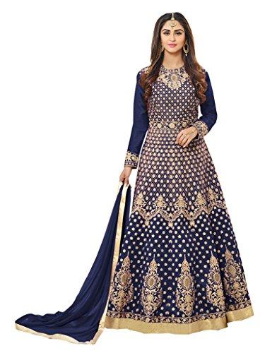 SareeShop Women's Embroidered Semi-Stitched Salwar Suit (RaginiNavy-SS)