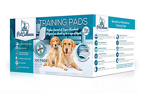 PetCellence Puppy Pads 100 Pack, Super Absorbent Pet Dog Training Pads Large 60 x 60cm with Anti-Slip Adhesive Tabs…