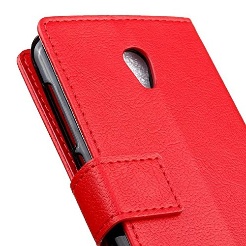 Vodafone Smart Prime 7 Cover Case, Vollfarbige Ledertasche mit Haltertasche Horizontale Seitenschnalle für Vodafone Smart Prime 7 ( Color : Purple , Size : Vodafone Smart Prime 7 ) Red