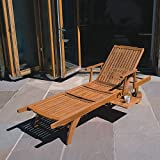 Trueshopping Amalfi Wooden Sun Lounger Premium Hardwood fully adjustable, sliding pull out Drinks Tray, on Wheels