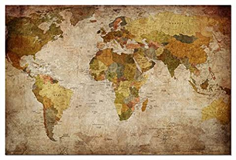Wieco Art - World Map Large Modern Stretched and Framed Giclee Canvas Prints Artwork Brown Contemporary Abstract Seascape Pictures Paintings on Canvas Wall Art for Living Room Bedroom Home Decorations