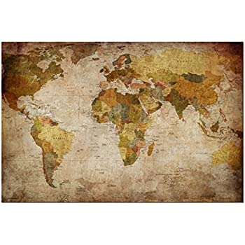 Map of the world antique style canvas art print 22x34 inch a1 wieco art world map large modern stretched and framed giclee canvas prints artwork brown contemporary abstract seascape pictures paintings on canvas wall gumiabroncs Images