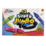 Grafix Super Jumbo Colouring Crayons - Box of 12 - Mixed Colours