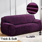 Dicke Sofaüberzüge, 1/2/3/4-Sitz-Überwurf, Sofa Schutzüberzug aus Samt. einfache Passform, Stretch-Material, Couch-/Bettüberwurf, violett, 4 Seater:235-300cm