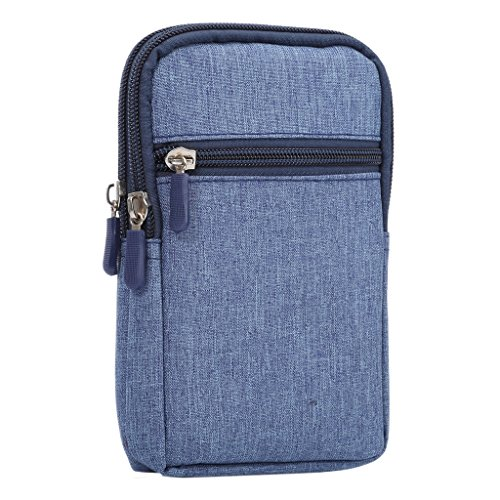 DFV mobile - Universal Multi-functional Vertical Stripes Pouch Bag Case Zipper Closing Carabiner for =>      Apple iPhone > Brown (17 x 10.5 cm) BLUE (17 x 10.5 cm)
