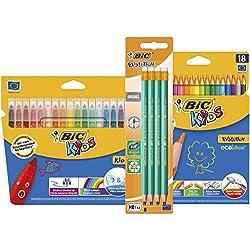 BIC Back-to-School Set 18 rotuladores para Colorear/18 Lápices de colores/8 Lápices de Grafito HB - Lote de 3 unidades