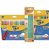 BIC Kids Buntstifte, Fasermaler & Bleistift 3-in-1 Set mit kunterbunten Stiften für Kinder ab 5 Jahren - sicheres Malen mit 44 Stiften