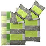 4 teilige CelinaTex Sommer-Bettwäsche | 100% Baumwolle Seersucker Marken Qualität | 135 x 200 cm Serie Enjoy 4-tlg. | Design Ellen hell grün grau weiß Kacheln