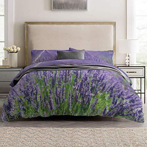 Soefipok 4pcs Bettbezug Set Floral Thema Lavendel Felder Leichte Pflegeleichte Bettwäsche Set für Männer, Frauen, Jungen und Mädchen, Twin Größe (Bettwäsche-set Twin Lavendel)