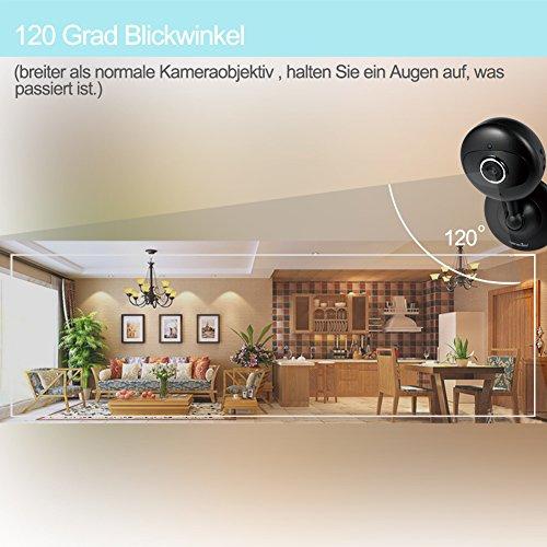 Wansview IP Kamera 720P WiFi Drahtlos Sicherheit Kamera für Baby/ Alter/ Haustier/ Kinderfrau Monitor mit Nachtsicht K2 (Schwarz) - 4