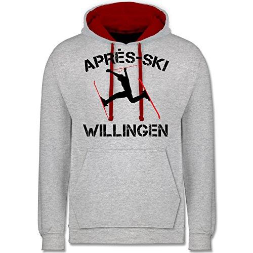 Après Ski - Apres Ski Willingen - Kontrast Hoodie Grau Meliert/Rot