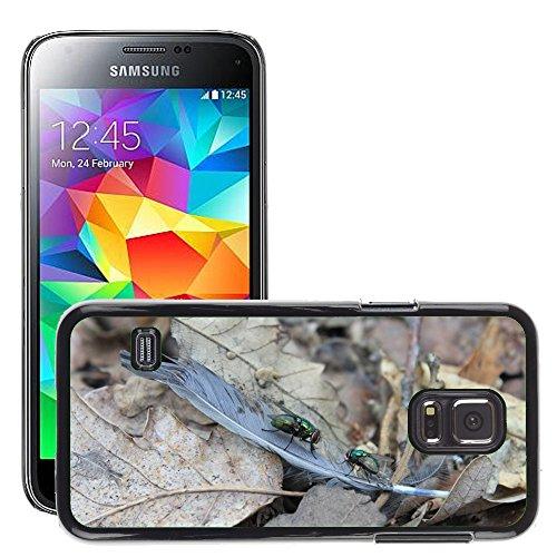 Grand Phone Cases Bild Hart Handy Schwarz Schutz Case Cover Schale Etui // M00140639 Vogelfedern Fly Golden Green // Samsung Galaxy S5 MINI SM-G800 (Fly Cover Samsung S5 Mini)