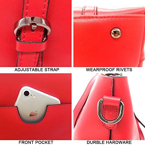 Sacchetti di cuoio genuini di Yoome per le donne Top Handle Borse della cartella della cartella grande borsa delle signore - grigio Rosso
