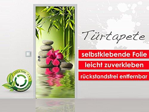 papel-pintado-para-puerta-hibiscus-on-bamboo-en-formato-90-x-210-cm-etiqueta-premium-pantalla-facile