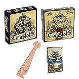 Blumie Shop Lot de 3 Boîtes de Jeu : Complots + Complots 2 + Complots Extension + 1 Règle Marque-Page en Bois
