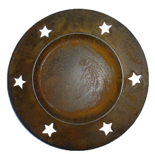 Craft Outlet Rusty Tin Plate with Star Cutouts, 6-Inch, Set of 4 by Craft Outlet Inc