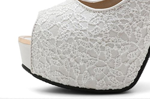 12 cm Waterproof tavolo with Fish Mouth Shoes Lace netta Cloth High-heeled Shoes Womens Shoes bianco