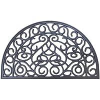 EHC - Zerbino per porta di ingresso/sul retro, antiaderente, a mezza luna, effetto ferro battuto, misura grande, 45 x 75 cm
