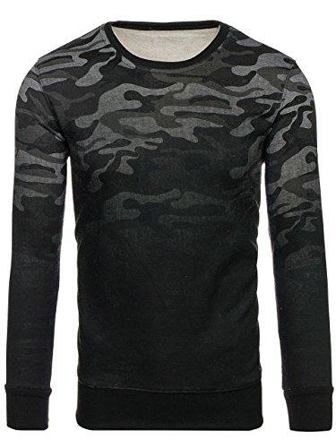 BOLF Herren Sweatshirt ohne Kapuze mit Rundhalsausschnitt Camo Motiv J.STYLE DD133-2 Dunkelgrau M [1A1] |