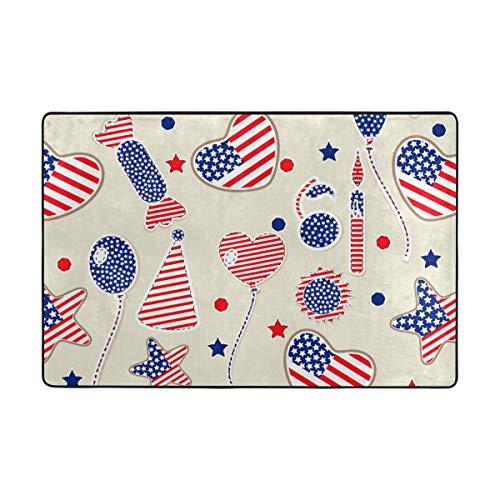 FANTAZIO Fantasio Teppiche mit amerikanischer Flagge und Herzkugeln, gerade, für Ecken und Kanten, ideal für Küche/Badezimmer, Polyester, 1, 72 x 48 inch