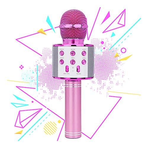 5-9 Jahre alte Mädchen Kinder, Bluetooth-Mikrofon Karaoke für Mädchen Jungen Mikrofon Musik Geschenke für 4-12 Jahre alte Jungen Mädchen Geburtstagsgeschenk Alter 7 8 9 Pink Mic ()