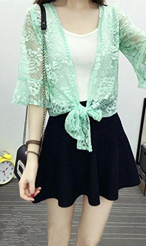 Petit Châle Sauvage Cardigan Mince Creux A Manches Courtes Veste Verges Vêtements Antisolaire Monissy Turquoise