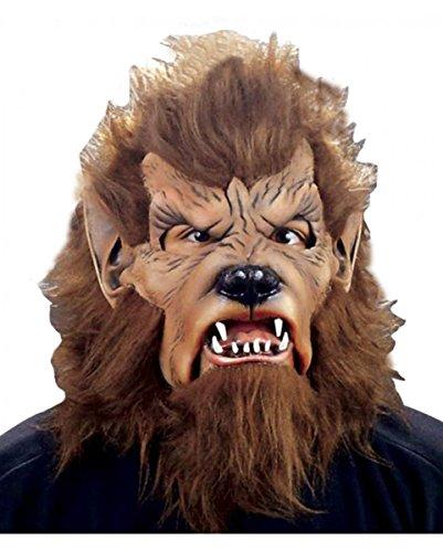 Horror-Shop Braune Wolfman Maske mit Kunstfell für Fasching & Halloween