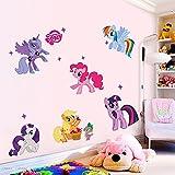 XueXian(TM) Kinder Mädchen Zimmer Wasserdicht Wandaufkleber Niedlicher Pony Wandsticker Wandbilder(Mehrfarbig)