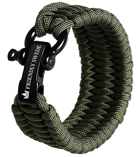 The Friendly Swede Einstellbares Trilobit Paracord Survival Überlebens-Armband (Grün, 23 cm - 25 cm Handgelenksumfang)