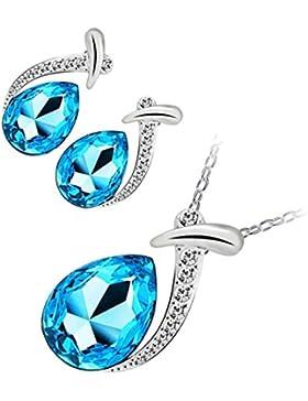 GWG® Sterling Silber Veredelte Schmuckset für Frauen, bestehend aus Anhänger-Halskette und Ohrringen, Wassertropfen...