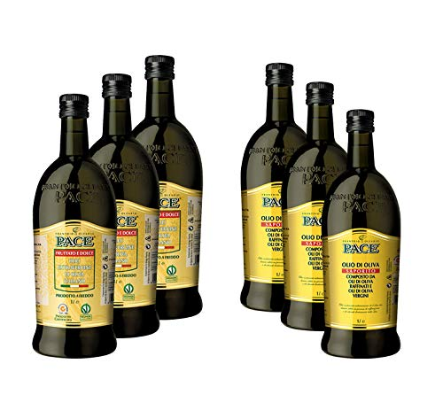 Confezione mista olio extravergine di oliva - 3 bottiglie da 1 lt. di olio extravergine di oliva fruttato e dolce, 3 bottiglie da 1 lt. di olio di oliva saporito