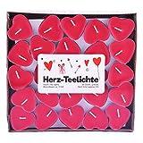 pajoma Herz-Teelichter, herzförmige Kerze, Herz Love You im 50er Pack, 3 Stunden, Rot