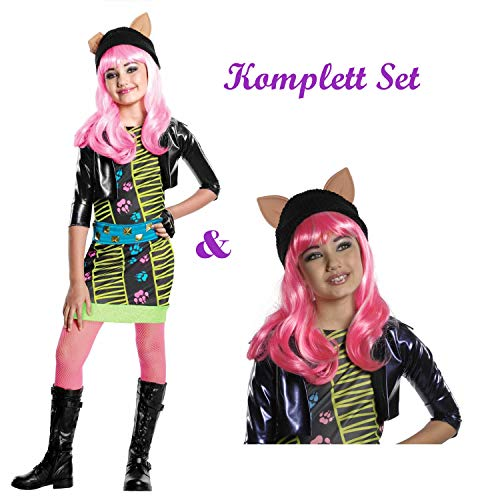 Savahe Monster High Howleen Wolf Kostüm & Perücke Komplett Set / Halloween & Karneval Mädchen Party (122/128)